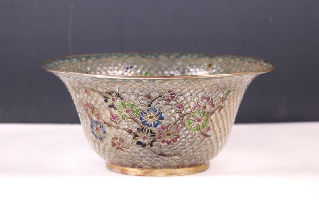Chinese Plique-a-Jour Transparent Enamel Bowl