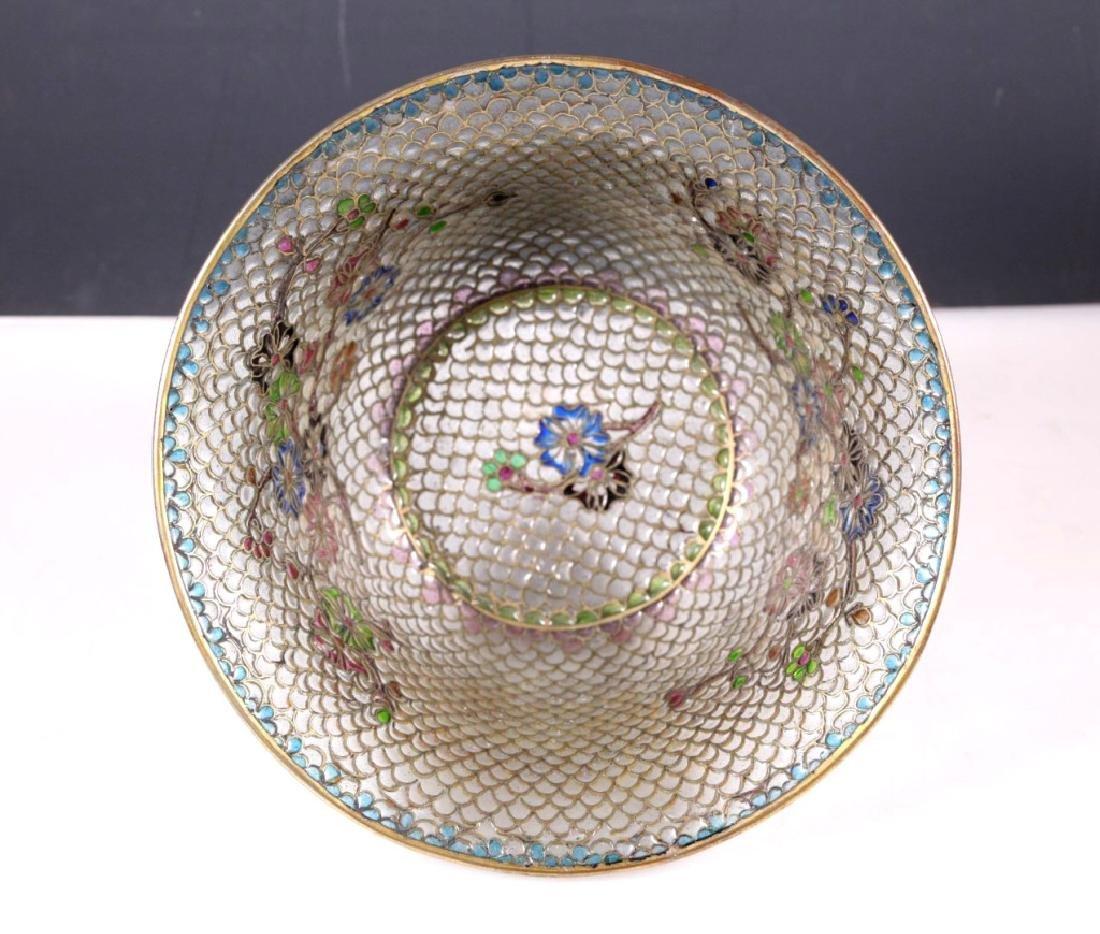 Chinese Plique-a-Jour Transparent Enamel Bowl - 3