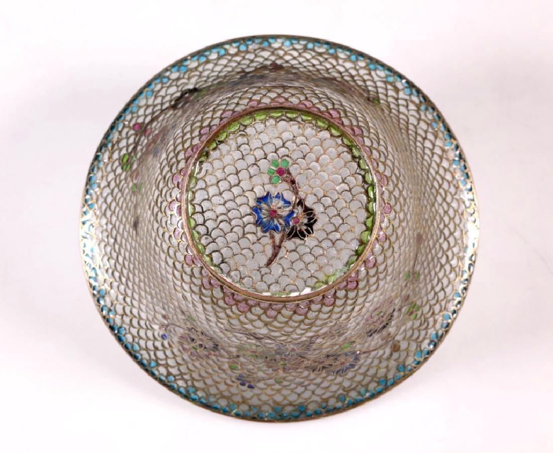 Chinese Plique-a-Jour Transparent Enamel Bowl - 6