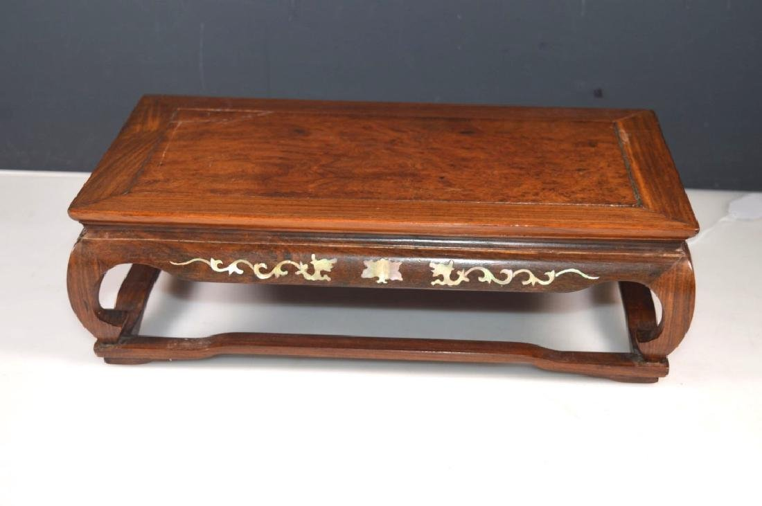 Chinese Burl & Hardwood Table; Mother-of-Pearl