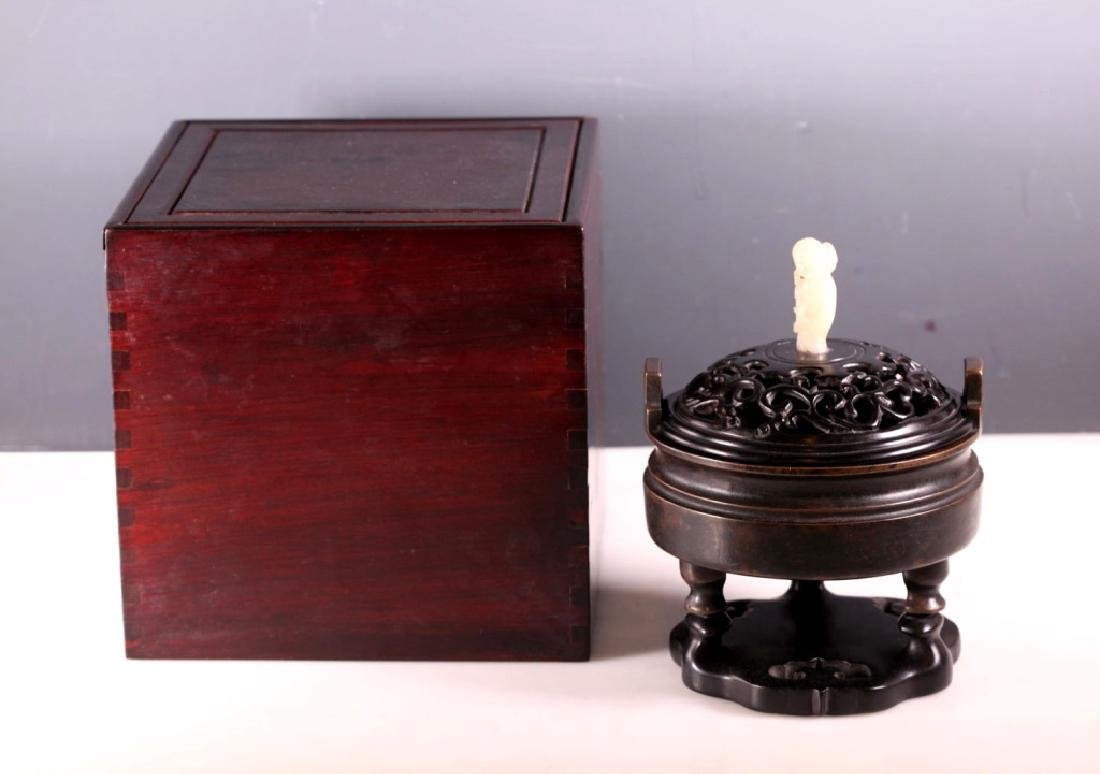 Chinese Qing Bronze Censer; Yu tang qing wan Mark