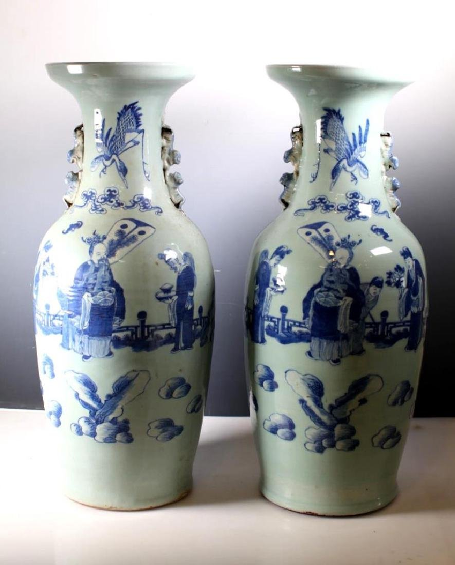 Pr Chinese B & W over Celadon Porcelain Vases