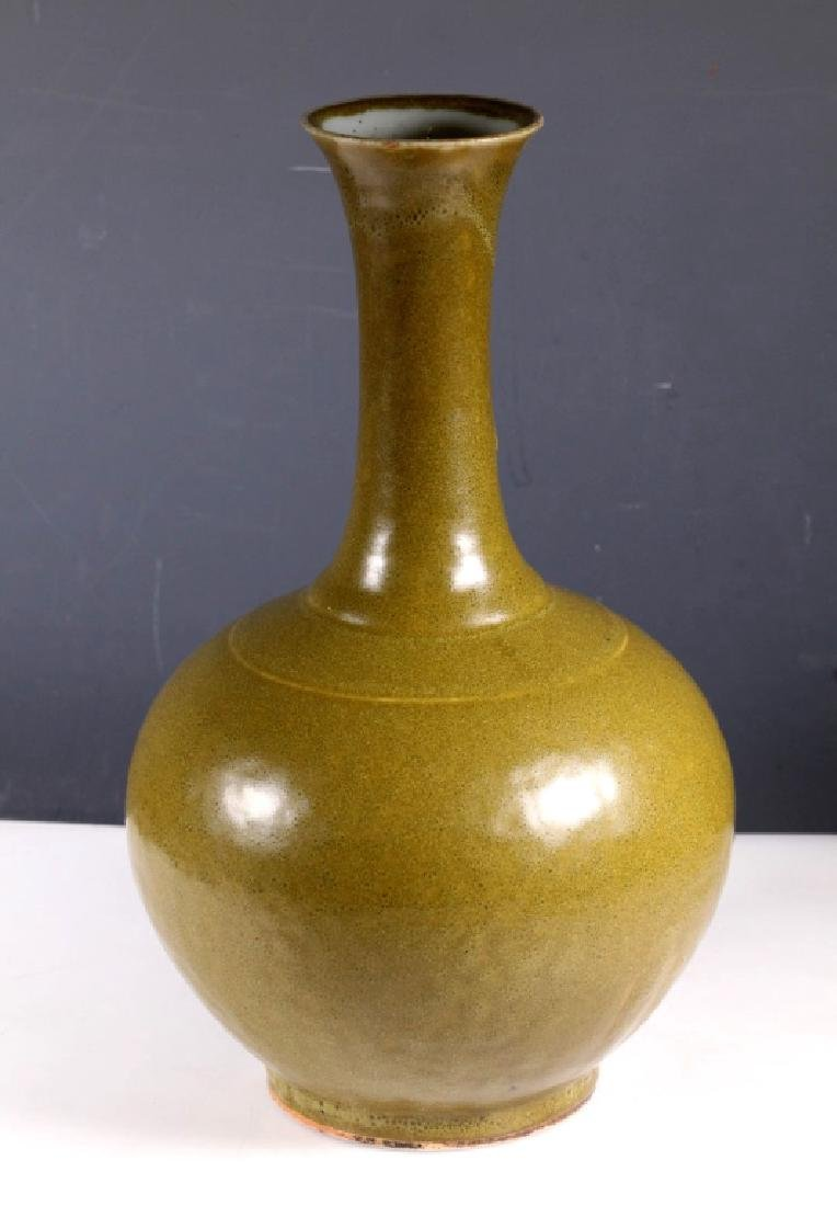 19th C Chinese Tea Dust Glazed Porcelain Vase