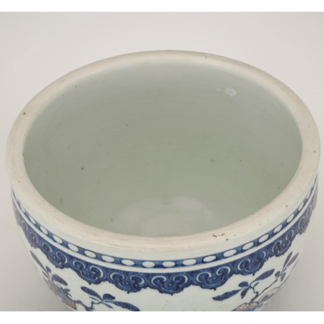Chinese Underglaze Blue & Red Porcelain Planter - 2