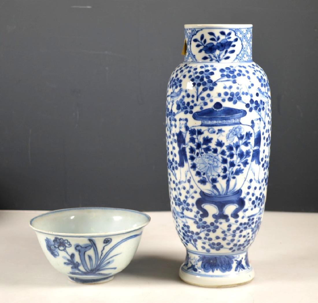 Two Chinese B & W Porcelains; Late Ming & Qing