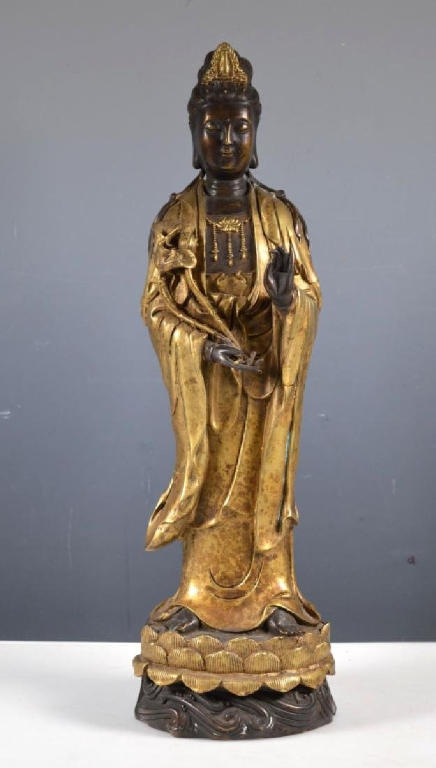 Chinese Patinated Bronze Standing Guanyin