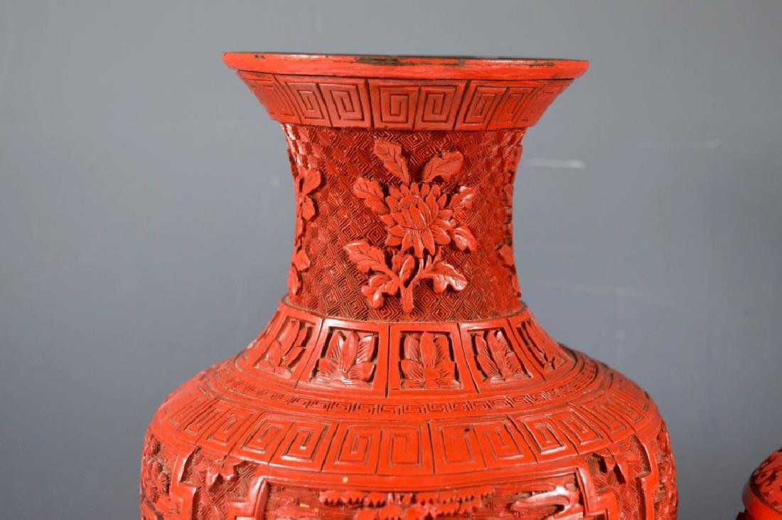 Two Chinese Carved Red Cinnabar Lacquer Vases - 4