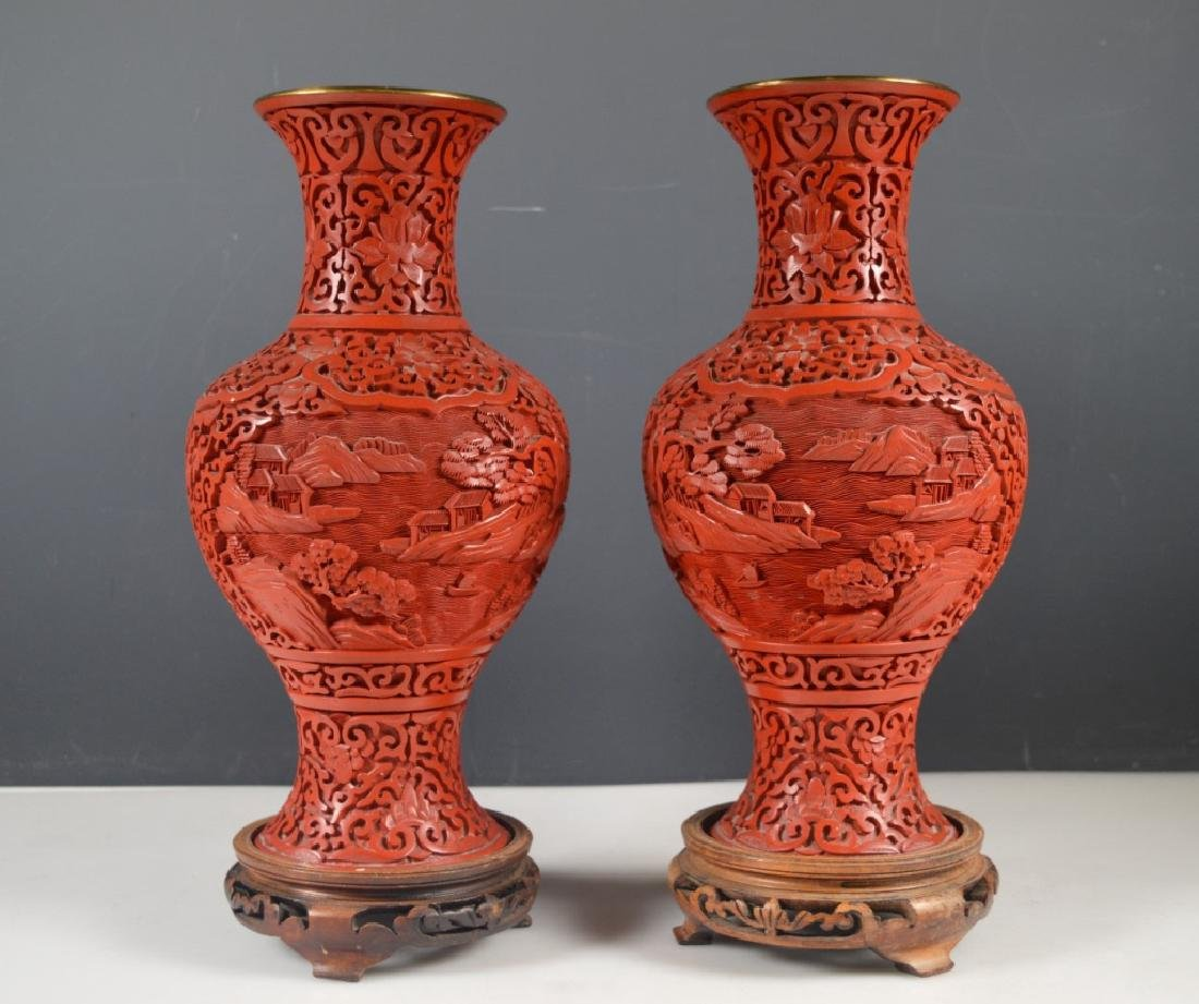 Pair Chinese Carved Red Cinnabar Lacquer Vases