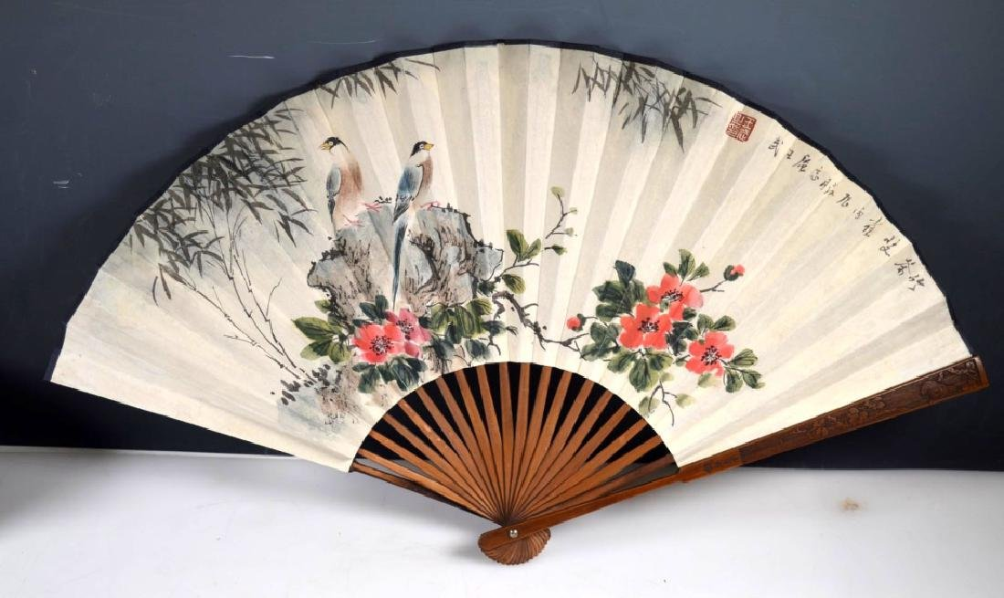 Chinese Painted Fan on Paper, Bamboo Fan