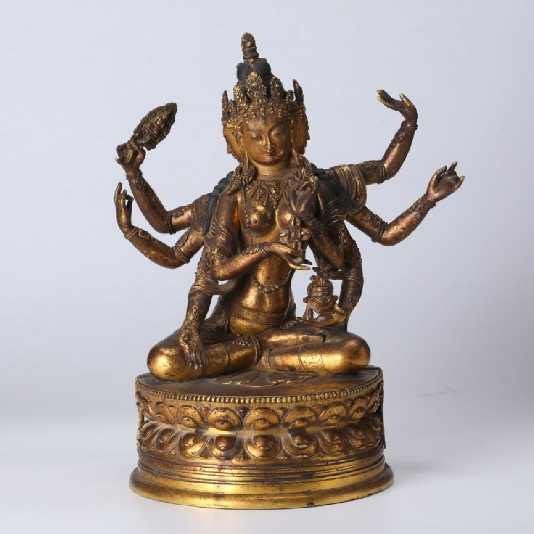 Tibetan Gilt Bronze Guanyin, open Lotus Throne