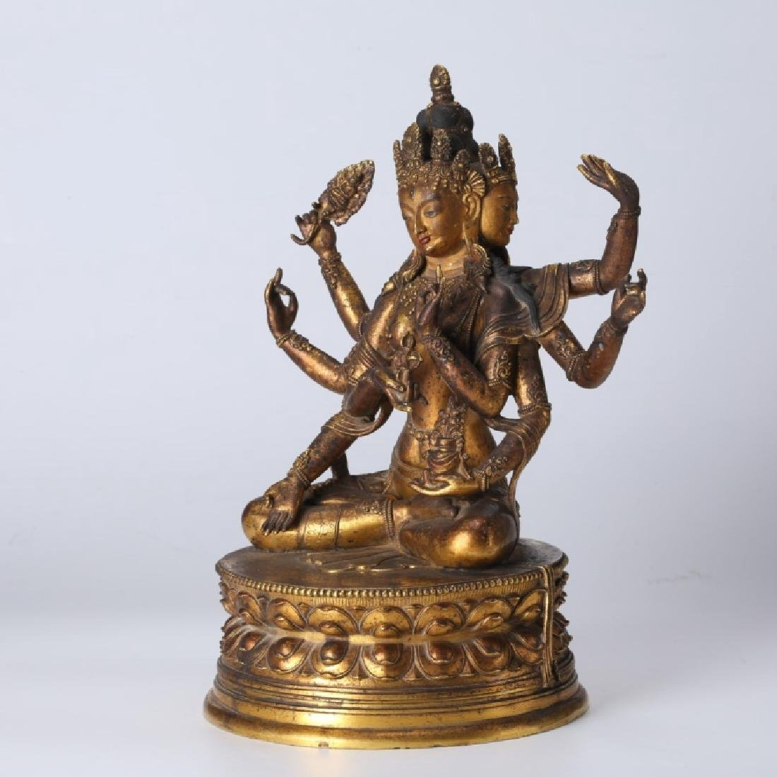 Tibetan Gilt Bronze Guanyin, open Lotus Throne - 3