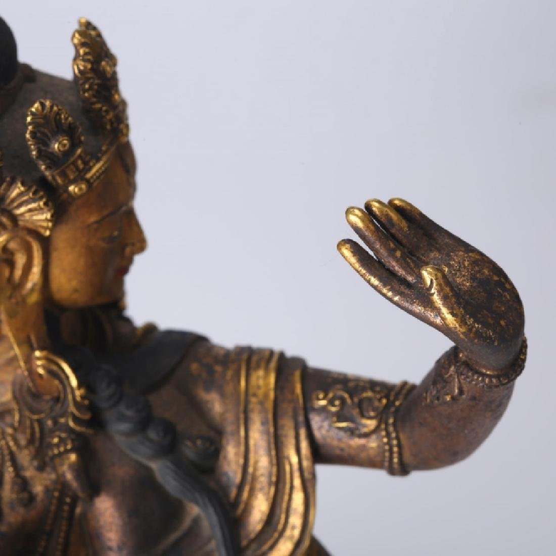 Tibetan Gilt Bronze Guanyin, open Lotus Throne - 8