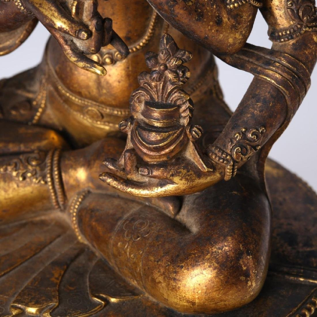 Tibetan Gilt Bronze Guanyin, open Lotus Throne - 9