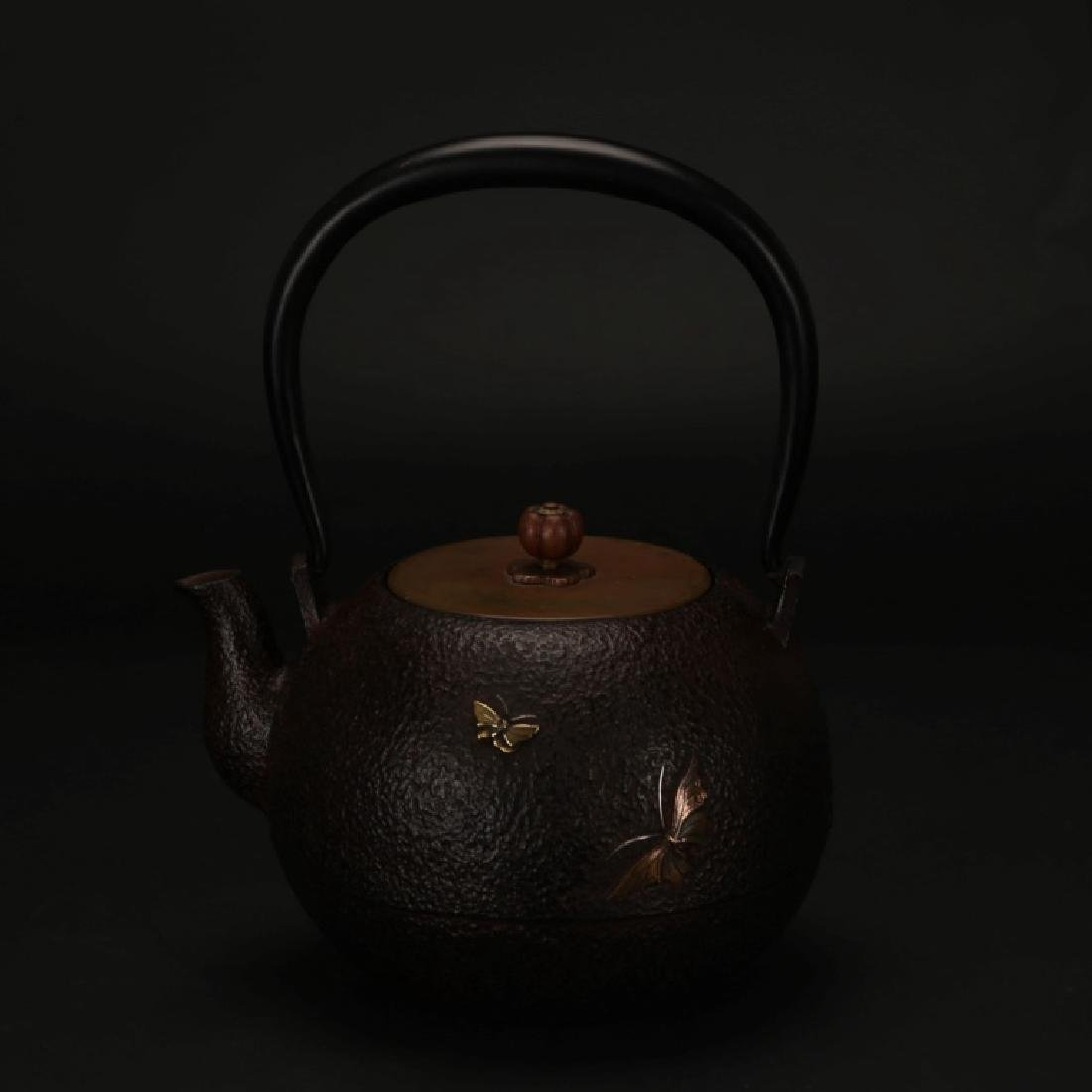 Japanese 19 C Cast Iron Mixed Metal Tetsubin Pot