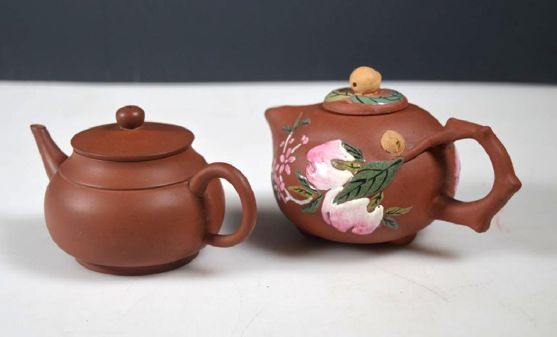 Two Yixing Teaopts; One with Enamel Decoration