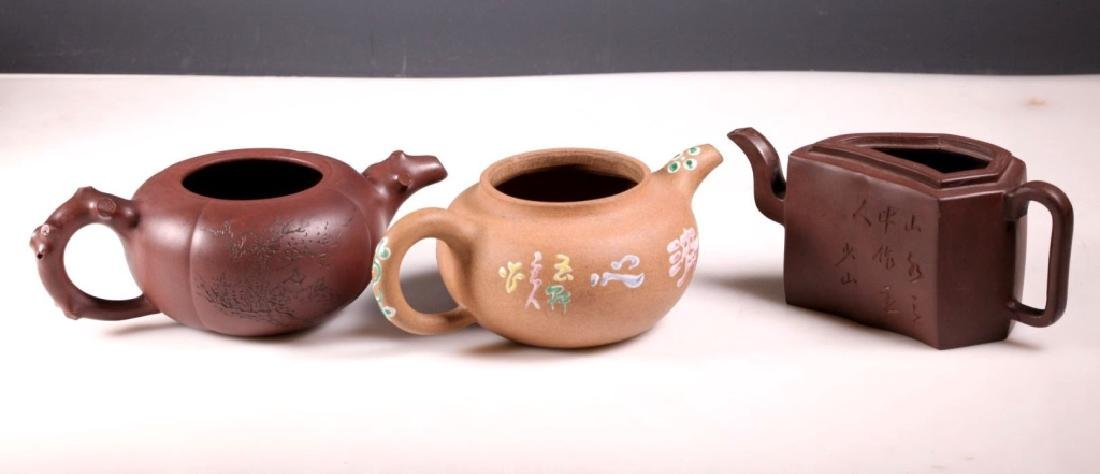 Three Chinese Yixing Teapots