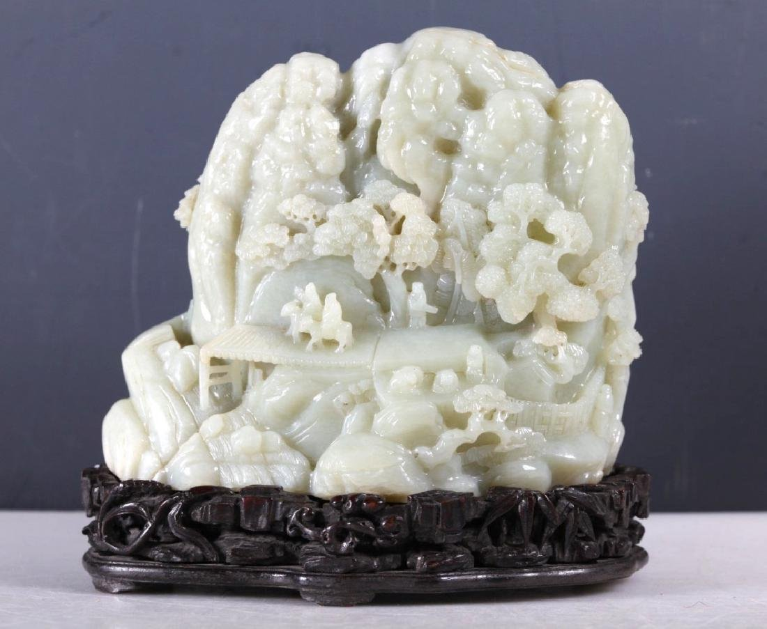 Large Chinese Carved Pale Celadon Jade Mountain