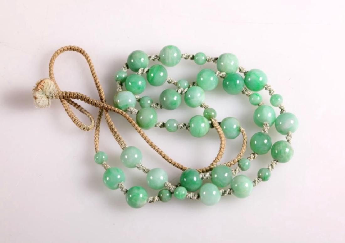 Antique Chinese Translucent Jadeite Bead Necklace