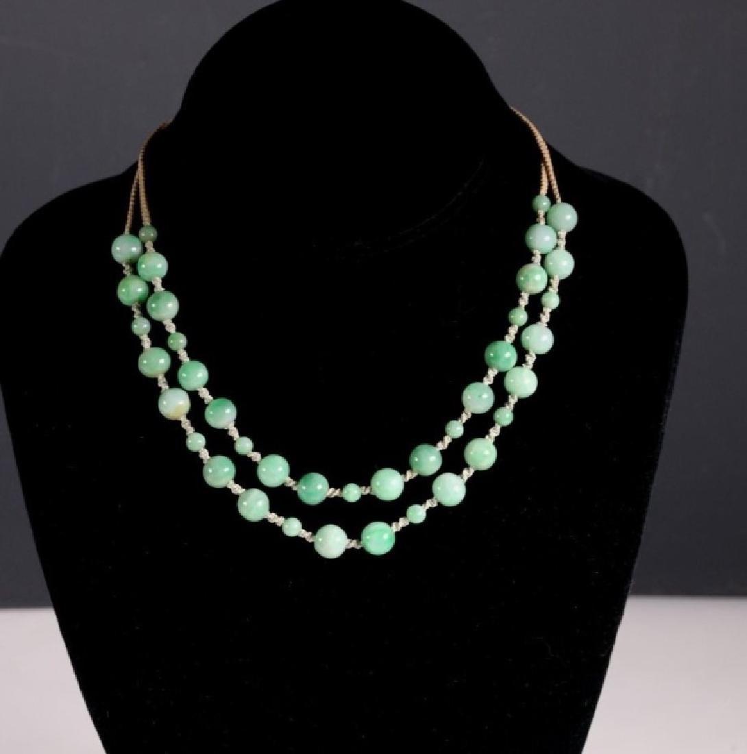 Antique Chinese Translucent Jadeite Bead Necklace - 2