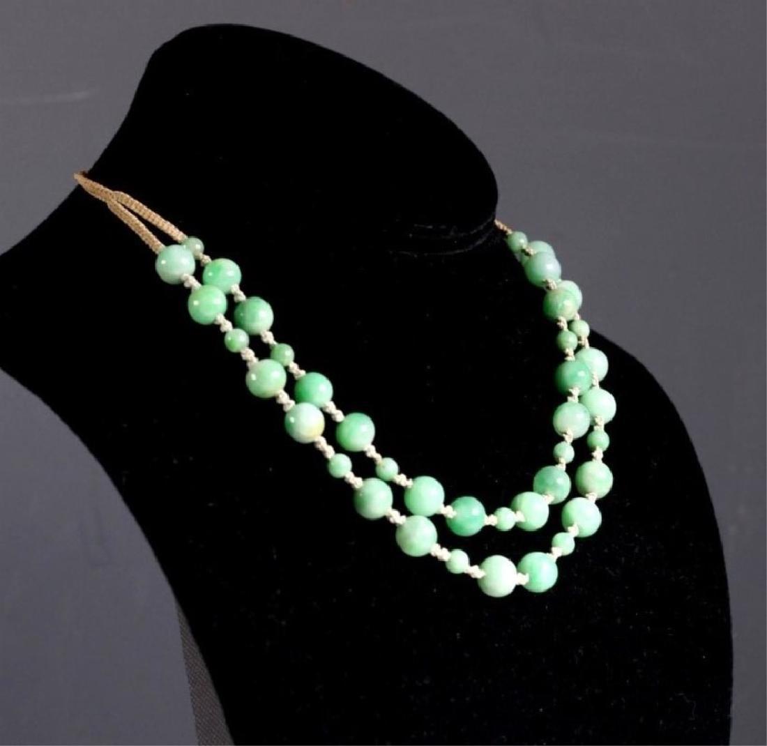 Antique Chinese Translucent Jadeite Bead Necklace - 4