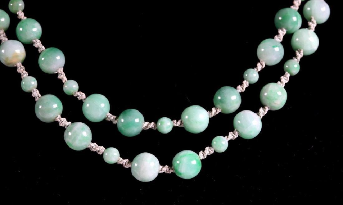 Antique Chinese Translucent Jadeite Bead Necklace - 5