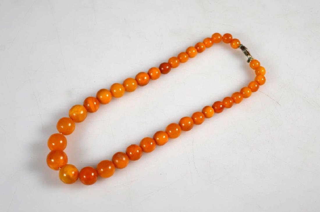 Amber Round Bead Necklace; 23.5G