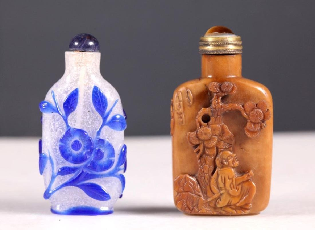 -2 Chinese Qing Snuff Bottles; Carved Jasper Glass