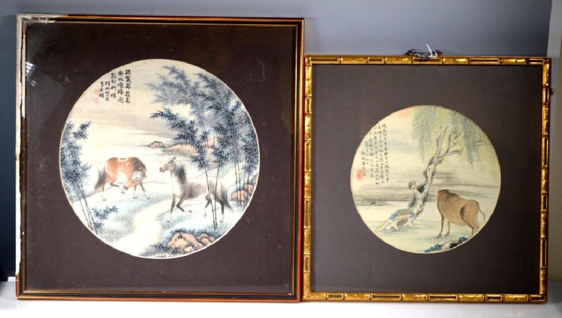 2 Chinese Round Paintings; Water Buffalo & Horses