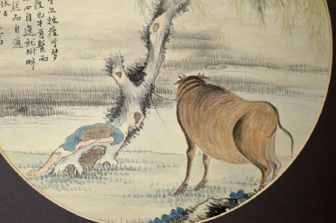 2 Chinese Round Paintings; Water Buffalo & Horses - 2