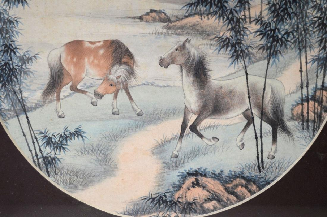 2 Chinese Round Paintings; Water Buffalo & Horses - 5