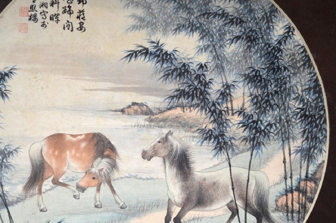 2 Chinese Round Paintings; Water Buffalo & Horses - 6