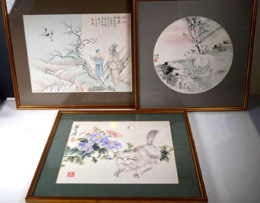 Three Chinese Paintings on Paper; Framed