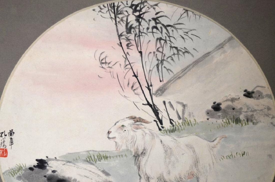 Three Chinese Paintings on Paper; Framed - 3