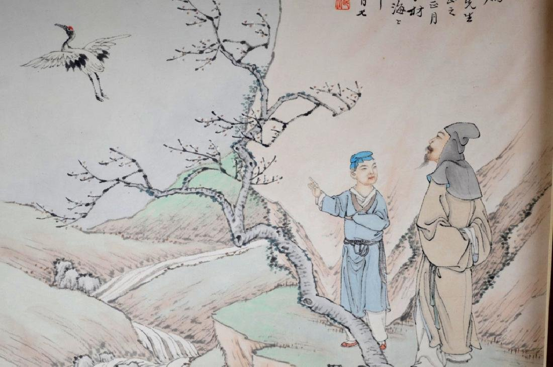 Three Chinese Paintings on Paper; Framed - 5
