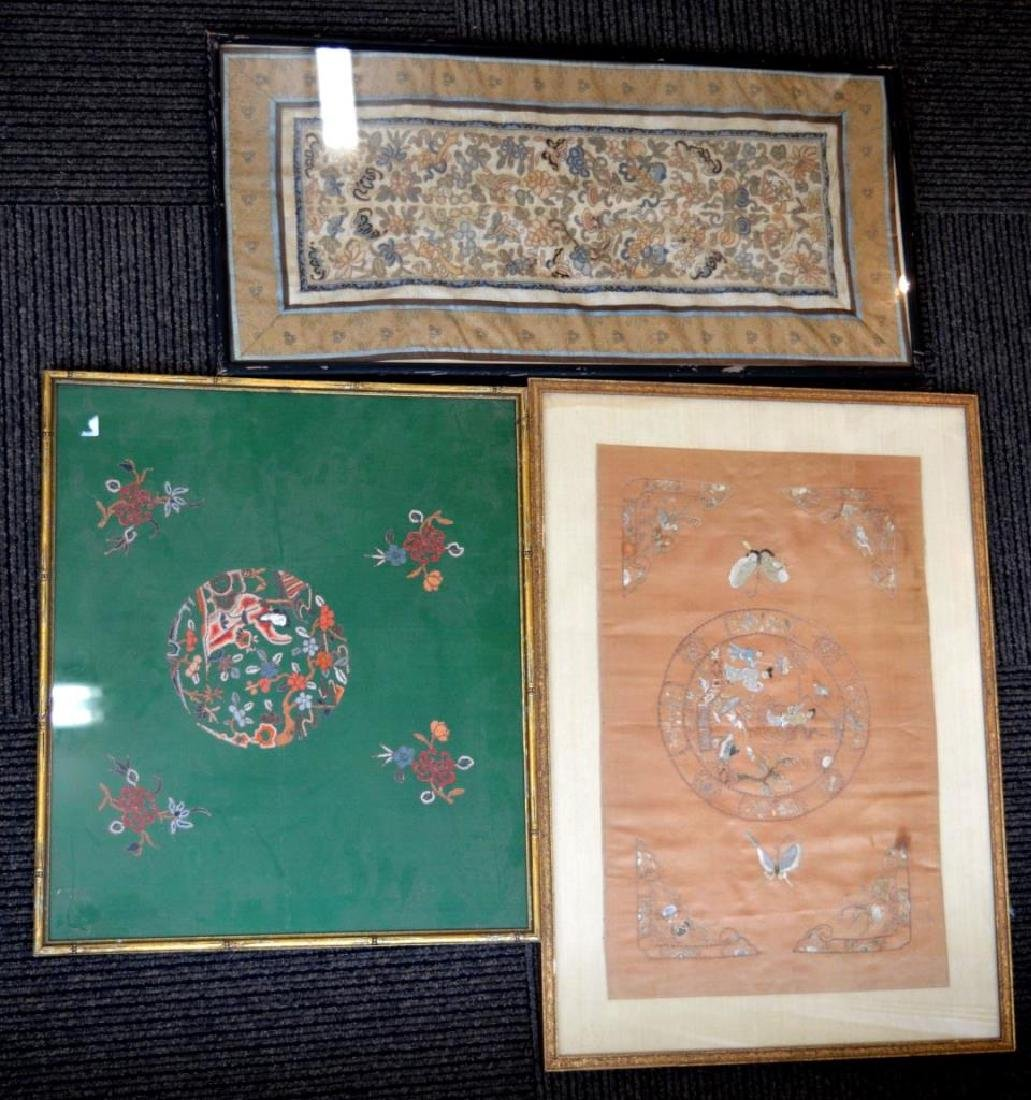 Three Framed Chinese Silk Embroideries
