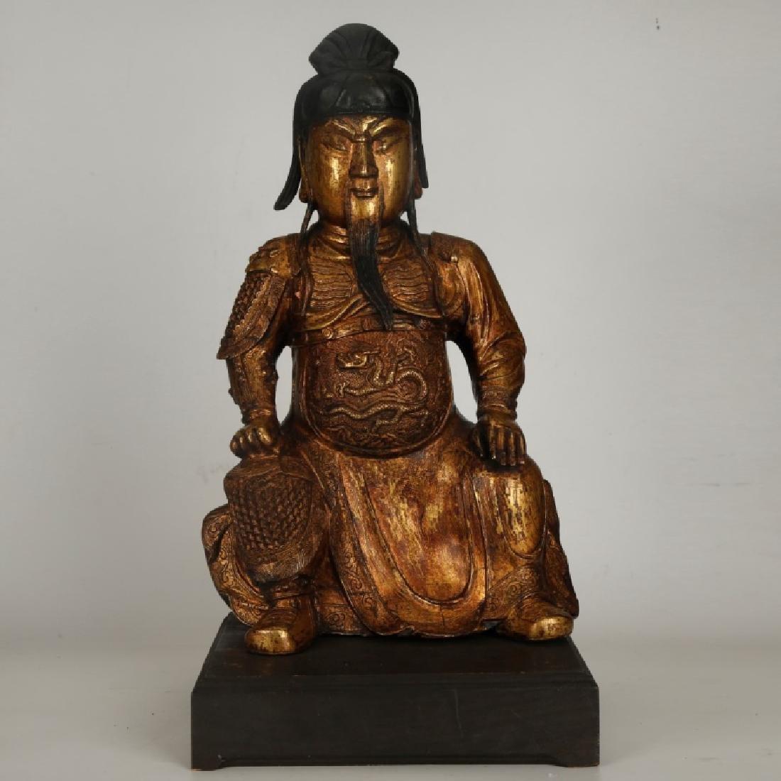Chinese Qing Gilt Bronze Guang Gong Figure