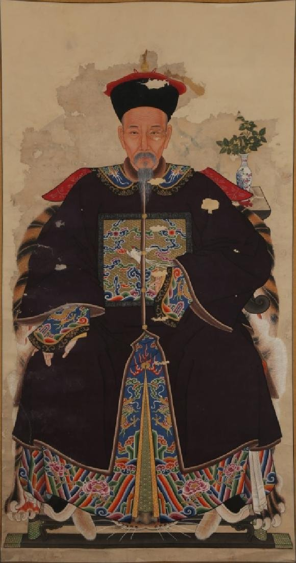 Chinese Qing Dynasty Male Ancestor Painting
