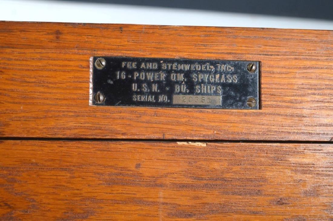 Fee and Stemwedel US Navy Spyglass 1942 Oak Case - 5