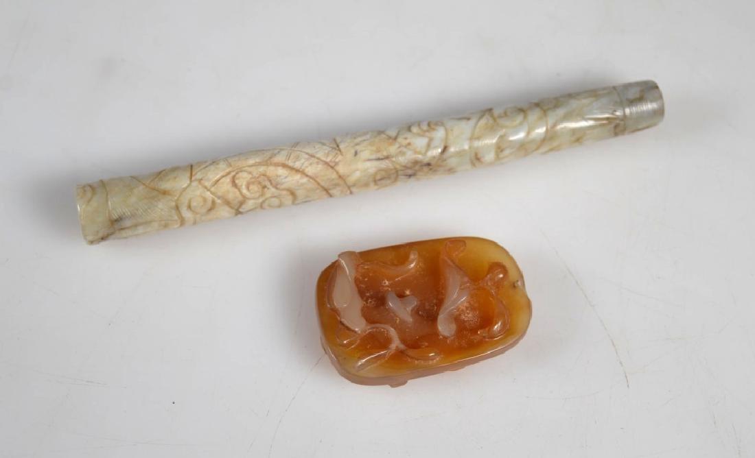 Chinese Ming Jade Brush Handle; Agate Pendant