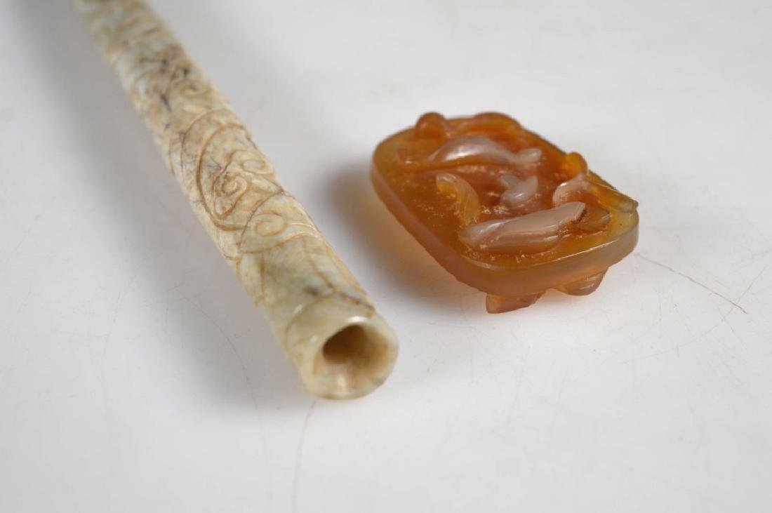 Chinese Ming Jade Brush Handle; Agate Pendant - 5