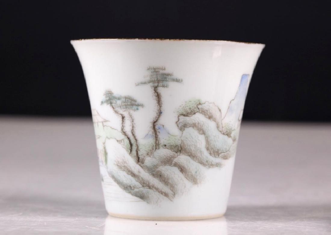 Pr Chinese Jingdezhen Painted Porcelain Wine Cups - 5