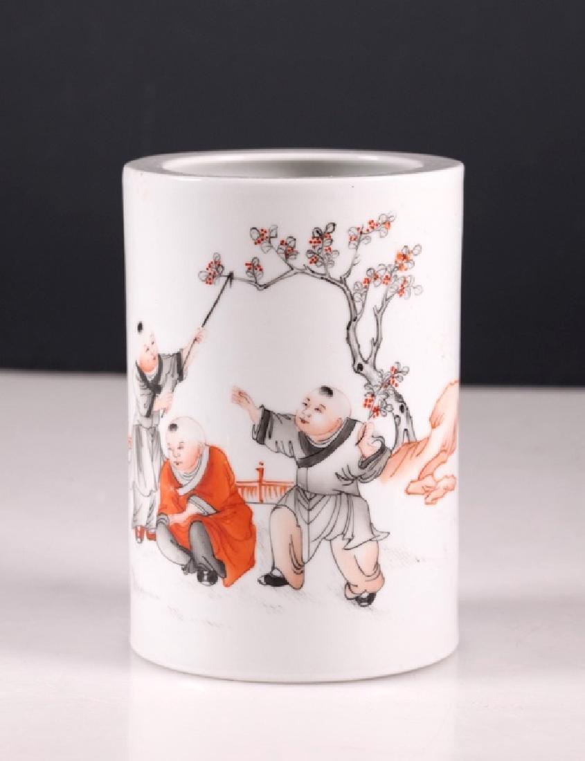 Chinese Porcelain Brush Pot, Iron Red & Black