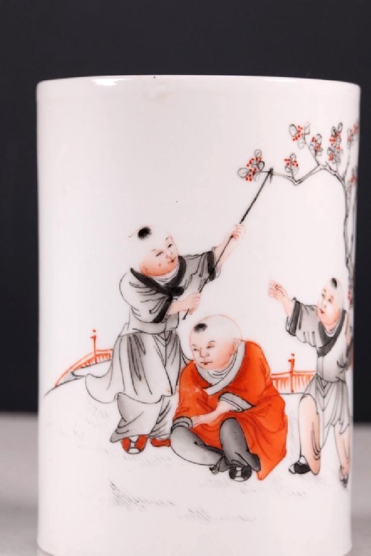 Chinese Porcelain Brush Pot, Iron Red & Black - 4