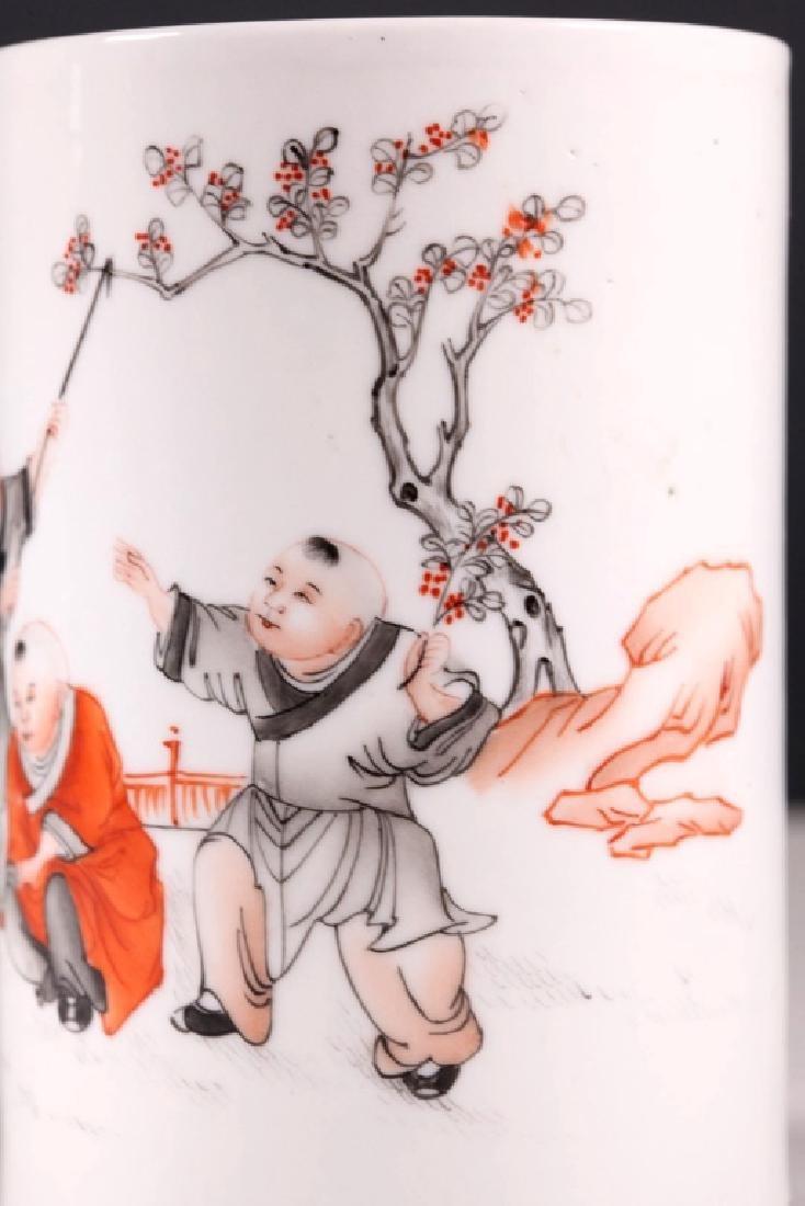 Chinese Porcelain Brush Pot, Iron Red & Black - 6