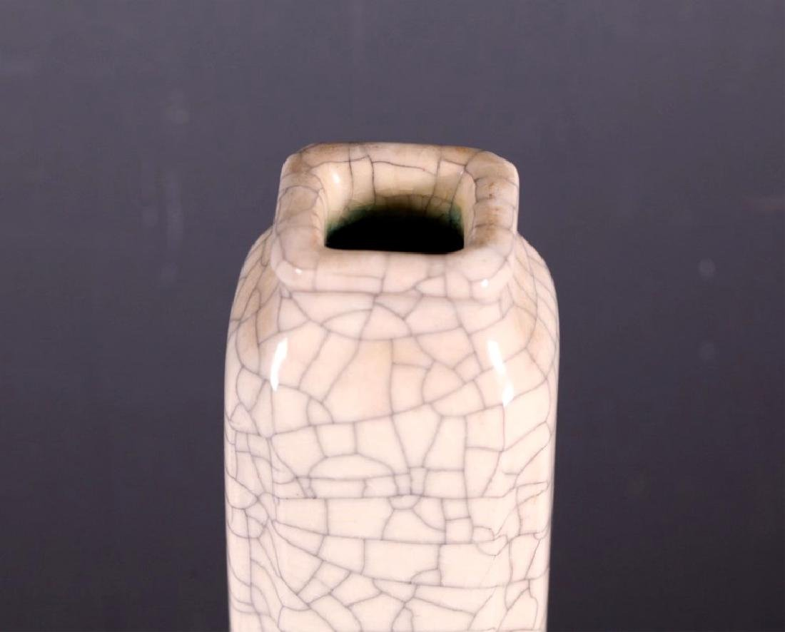 Tall Chinese Four Sided Crackle Glazed Vase - 3