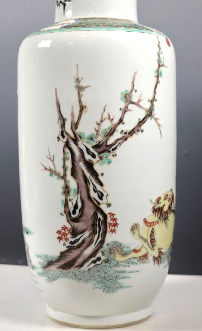 Large Chinese Famille Verte Porcelain Vase - 4