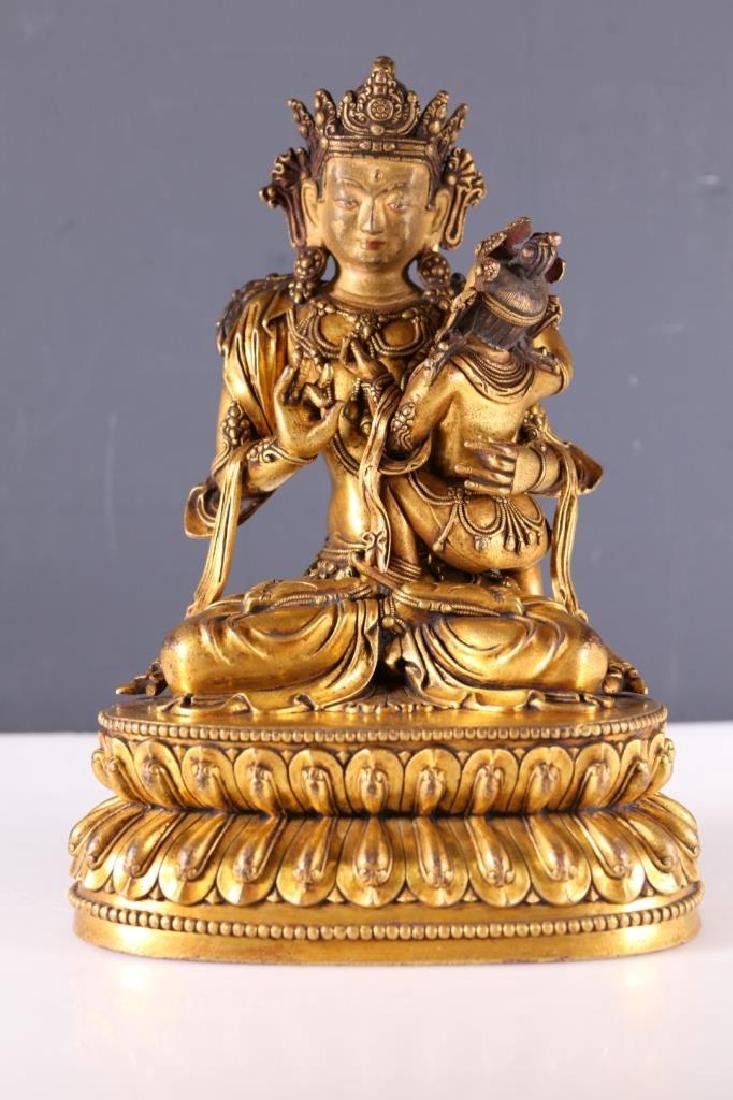 Tibetan Gilt Bronze Double Figure Buddha