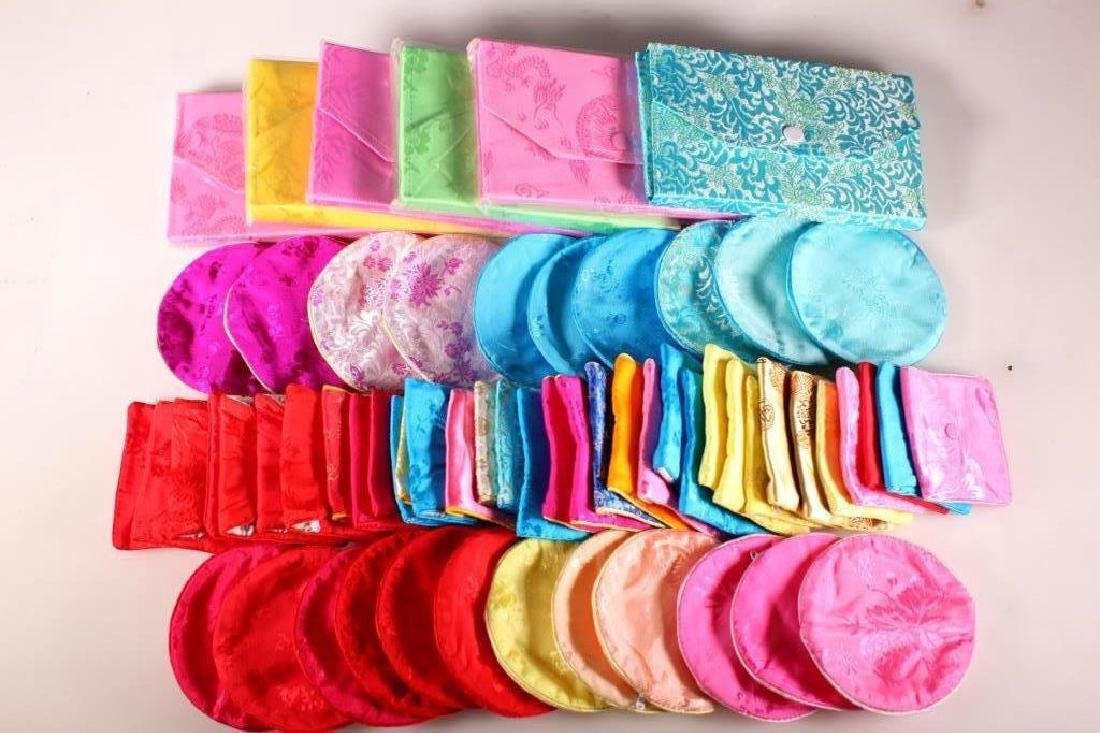 62 Chinese Silk Earring Bags, Bangle Bags, & Sets
