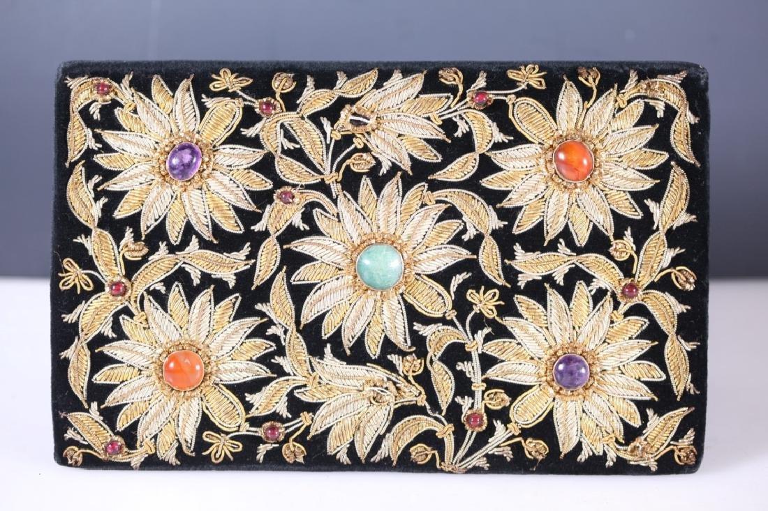 Gold Embroidered Hardstone Evening Bag