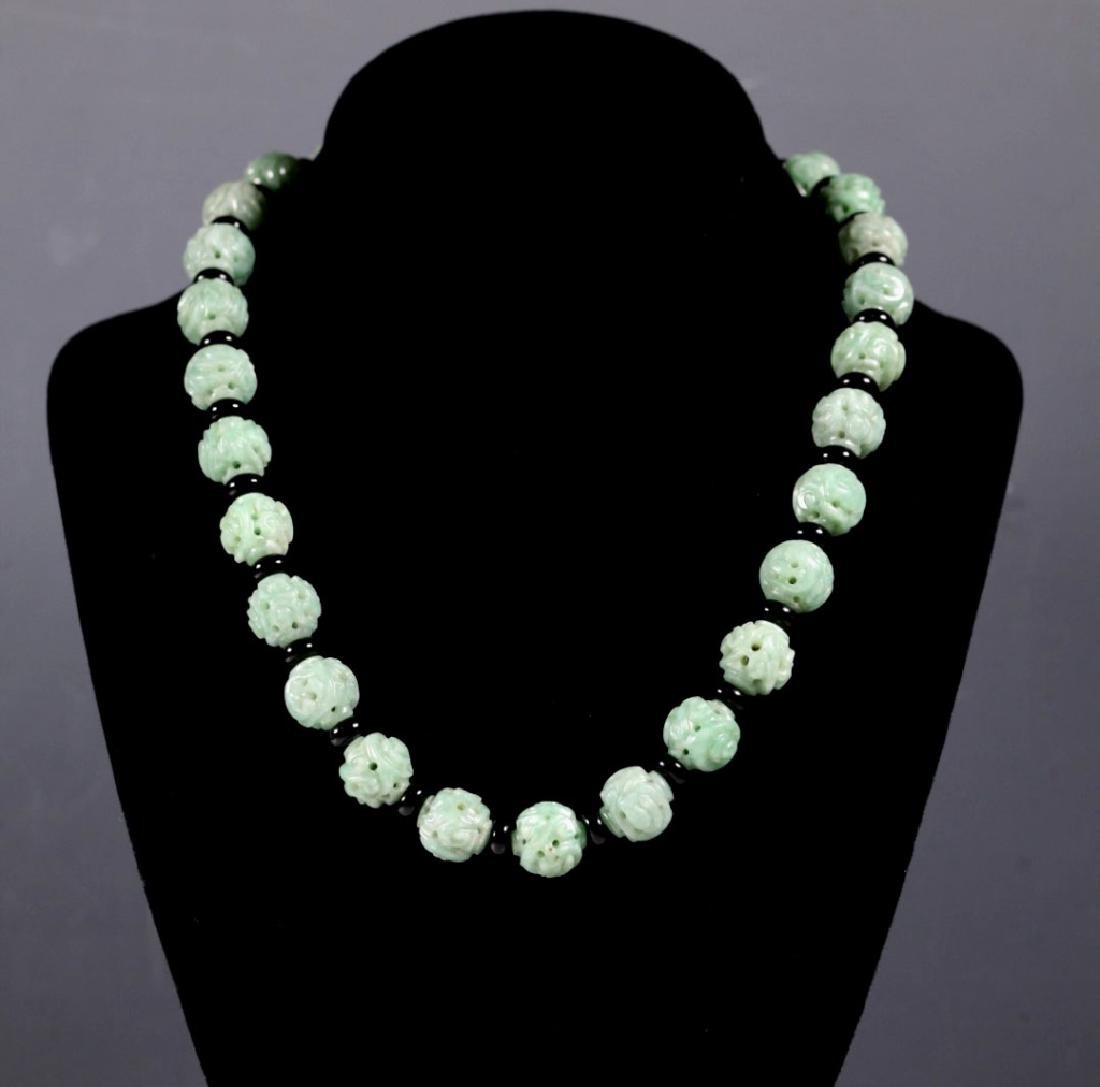Antique Chinese Jadeite Pierced Bead Necklace; 14K